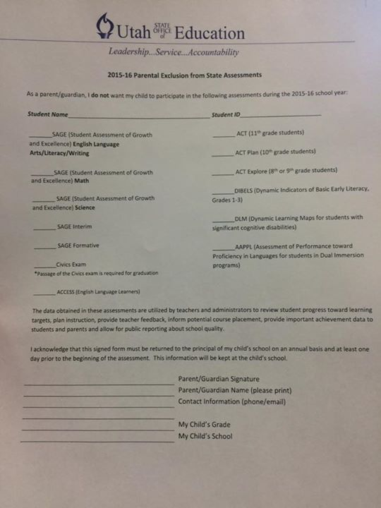 USOE opt out form