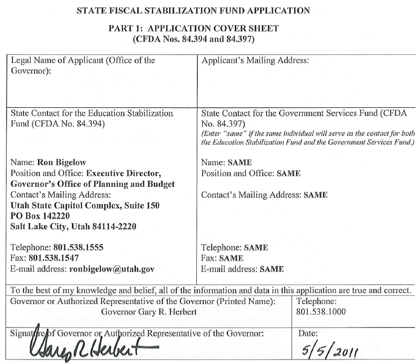 State Fiscal Stabilization Fund Application